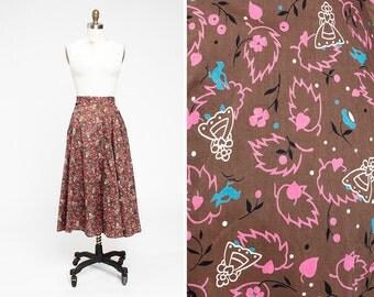 1950s Dutch Girl Novelty Print Cotton Circle Skirt