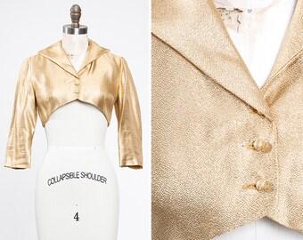 Vintage 1960s BOMBSHELL Metallic Gold Lurex Bolero