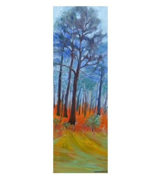 "Vertical long painting |Tall pine trees| Tree painting| landscape oil| |8"" X 24"" impressionist fine art