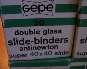 Vintage 1960s Gepe 7 Boxes of Double Glass Slide Binders