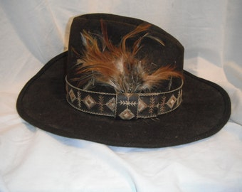Vintage black wool cowboy hat  with feathers