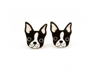 Boston Terrier Shrink Plastic Stud Earrings