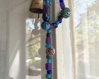 Hanging Bells, String of Bells, Hippie Bells, Blue Glass Beads, Ringing Bells, Feng Shui Bells, Blue and Purple, Brass Bells, Garden Chimes