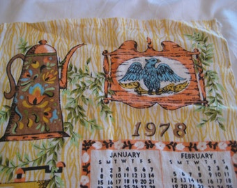 1978 calendar towel, kitchen calendar towel, calendar dish towel, country kitchen
