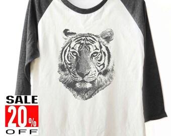 Tiger tshirt Animal tshirt women t shirt baseball t shirt 3/4 sleeve shirt men t shirt size S M L