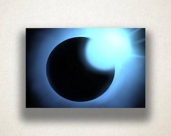 Blue Sun Eclipse Canvas Art Print, Sun Wall Art, Solar Eclipse Canvas Print, Close Up Wall Art, Canvas Art, Canvas Print, Home Art, Wall Art