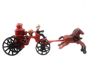 Cast Iron Toy - Fireman Wagon & Horses - Complete Set - Antique with Original Paint