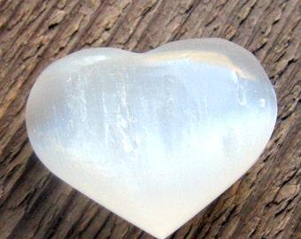 Selenite Heart Gemstone Crystal Palm Stone