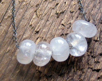 Rose Quartz Chunky Bead Necklace Sterling Silver Bohemian Jewelry