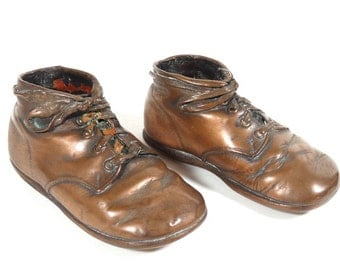 Copper Baby Shoes Pair - Bronzed Baby Shoes - Toddler Shoes