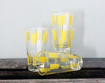 Vintage Yellow Glasses S/4
