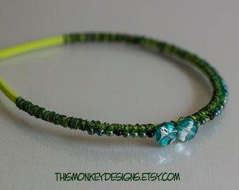 Good Green Algae  - wire wrapped beaded headband / handmade / wrap / hair / accessories / etsy / wearable art / gifts for her / boho / women