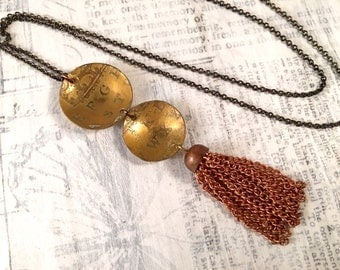 Vintage Tassel and Etched Brass Necklace - Repurposed