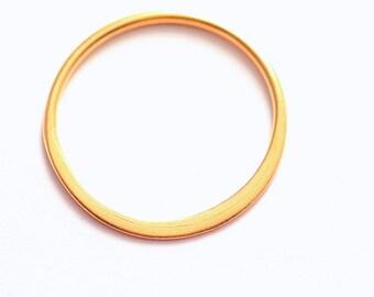Matte Circle Link Pendant, 22K Gold Plated Sterling Silver, Half Flat, Satin Finish, 15.5mm, Choose Quantity, 22-2
