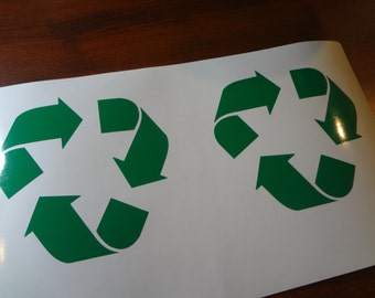 2 Recycle Symbol 3 Inch Decals Label Plastic Paper Cans Glass Vinyl Sticker Bucket Container Trash Bin Can Go Green Gift DIY & Save Garbage