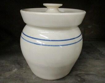 Paul Storie Pottery Crock with Lid Stoneware Double Blue Stripe