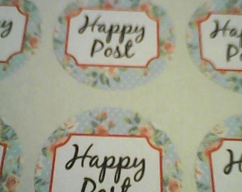 happy post stickers 35mm round