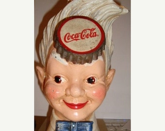 Sizzlin Summer Sale Coca-Cola Cast Iron Still Bank Sprite Boy FEB 2 1875