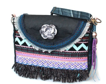 Bohemian OOAK bag Aztec with fringe, in purple and blue jeans recycled, Ibiza crossbody bag with flower, woman gift handmade purse handbag
