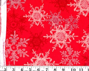 1 Yard, Snowflakes on Red