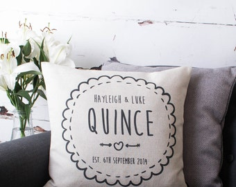 Personalised Couple Wedding Anniversary Custom Made Pillow Cushion Cover Quality Linen Cotton with Names Date