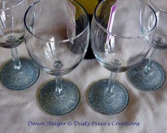 ON SALE!  Silver Swirls - Set of 4 Stylized Wineglasses