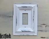 Rocker GFI Light Switch Plate Outlet Ornate Shabby Chic White Single Electrical Framed Painted Cover Vintage Wall Light Decor DETAILS BELOW