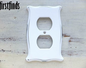 2 Outlet Cover Plate Electrical Plug Shabby Chic White Cottage Decor Vintage Distressed Plastic Painted Flour Sack Style ITEM DETAILS BELOW