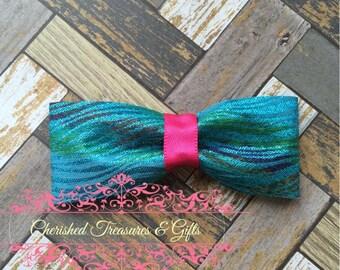 Teal Shimmering Zebra Striped Hair Bow