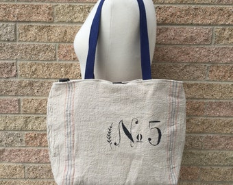 Re-Purposed Feed Sack Tote Bag / Hand Stenciled No.5 / Laptop or Book Bag