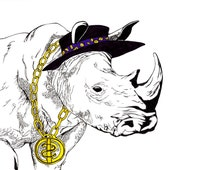 Rhino swag A4 Illustration in ink