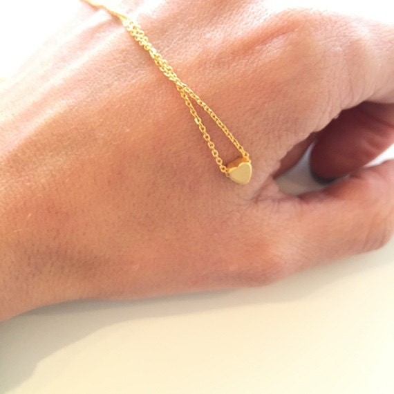Tiny heart necklace, Gold Heart necklace, Dainty everyday jewelry, Bridesmaids gift, Christmas gift under 15 USD