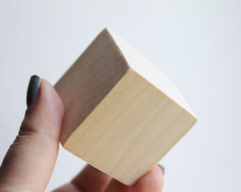 Set of 5 unfinished wooden cubes (blocks) 20x20 mm, 25x25, 35x35, 45x45 mm - natural eco friendly - Linden tree (without hole)