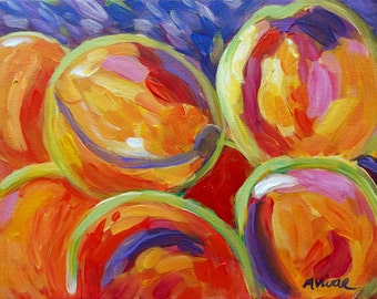 Original abstract fruit kitchen art original acrylic impressionist painting on canvas