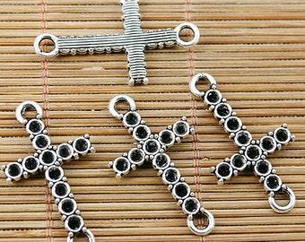 24pcs Tibetan silver cross cab setting connectors EF1864