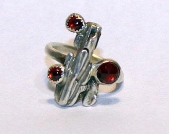 Three Garnet  Organic Oak Twig Silver  Jewelry Handmade  Ring