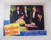 Antique The Gambler From Natchez Dale Robertson Movie Lobby Poster Card, 1954, Western Cowboy, Debra Paget