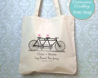 Proof for Destination Wedding Welcome Bag, Destination Wedding Gift, Tandem Bicycle Wedding, Tandem Bike Bag, Destination Wedding Tote Bag