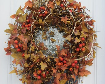 Fall Wreath, Autumn Wreath, Leaf Wreath, Fall Door Wreath, Fall Twig Wreath -Fall Rustic Country Wreath - Fall Outdoor Wreath - Thanksgiving