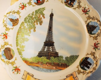SOUVENIR Eiffel Tower FRENCH PLATE Funny classic cool and retro chic cool ceramic porcelain home decor red green blue gold french writing