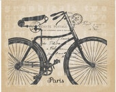Bicycle Carte Postale Instant graphic digital download image for iron on fabric transfer burlap decoupage scrapbook pillow / tote No gt326