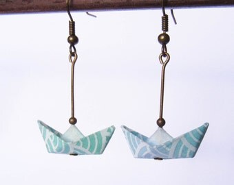 Origami paper boats earrings //SALE -15%//Jewelry . Paper . Paperboat . Paperboat for sale . Origami paper . Blue . Bead . Waves