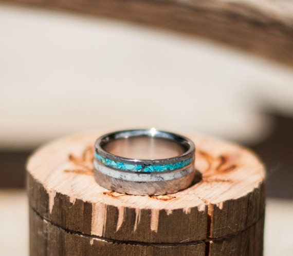 Mens Wedding Band Hammered Elk Antler Amp Hand Crushed Turquoise