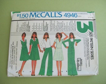 Vintage 1976 McCall's 4946 Pattern - Women's Jacket or Vest, Top, Pants, Skirt - Size 12/14/16 Perfect for Knits
