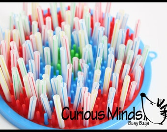 Toddler Fun Activity - Straws on Peg Fine Motor Quiet Toy