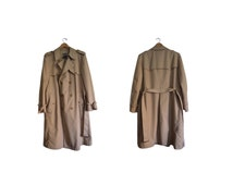 SALE Vintage 80s 90s Trench Christian Dior Monsieur Trench Coat 44R Long Tan Rain Coat Belted City Coat Fully Lined Polyester Cotton Stylish