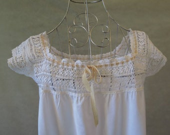 1920s Petticoat, Slip, Dress With Crochet Yoke