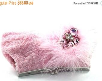 SALE 30% OFF Bridal Clutch, Beaded Pink Crystal Bridal Clutch, Pink Feather Beaded Wedding Purse, Pink Crystal Evening Clutch