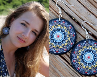 Boho chic earrings, mandala earrings, decoupage earrings, black statement earrings, hippie dangle earrings, gypsy style earrings, vibrant