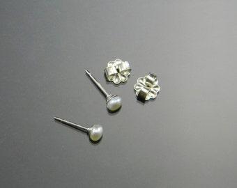Small Pearl Studs, Cultured Pearl Earrings, Small Pearl Earrings, Sterling Silver, 3-4 mm pearls, June Birthstone
